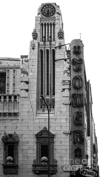 Photograph - Los Angeles Tower Theater - Black And White by Gregory Dyer