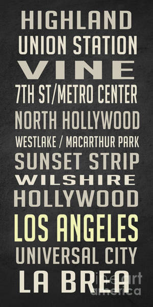 Cable Digital Art - Los Angeles Vintage Places Poster by Edward Fielding