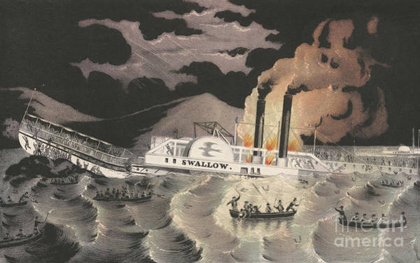 Currier And Ives Painting - Loss Of The Steamboat Swallow, While On Her Trip From Albany To New York, 1845 by Currier and Ives