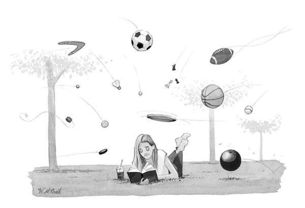 Football Drawing - Lost In A Book by Will McPhail