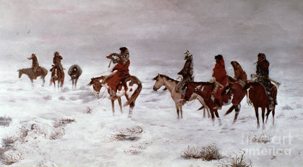 Horseback Wall Art - Painting - 'lost In A Snow Storm - We Are Friends' by Charles Marion Russell