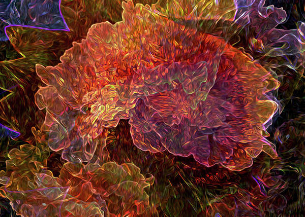Gestural Digital Art - Lost In The Flowers by Lynda Lehmann