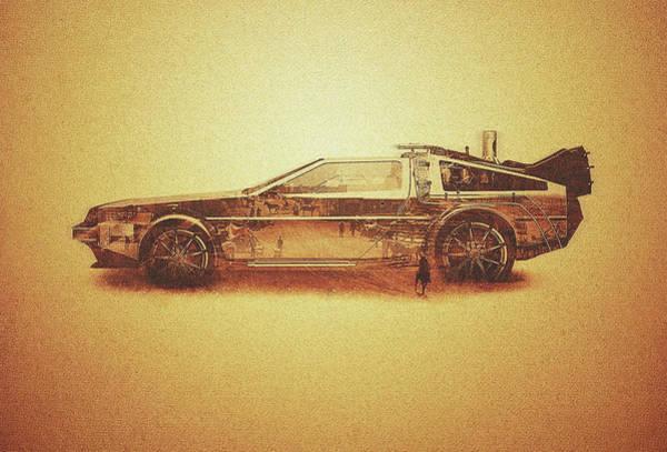 Cool Car Digital Art - Lost In The Wild Wild West Golden Delorean Doubleexposure Art by Philipp Rietz
