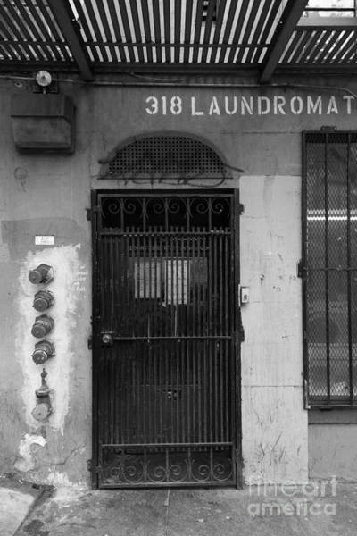 Photograph - Lost In Urban America - Laundromat - Tenderloin District - San Francisco California - 5d19347 - Bw by Wingsdomain Art and Photography