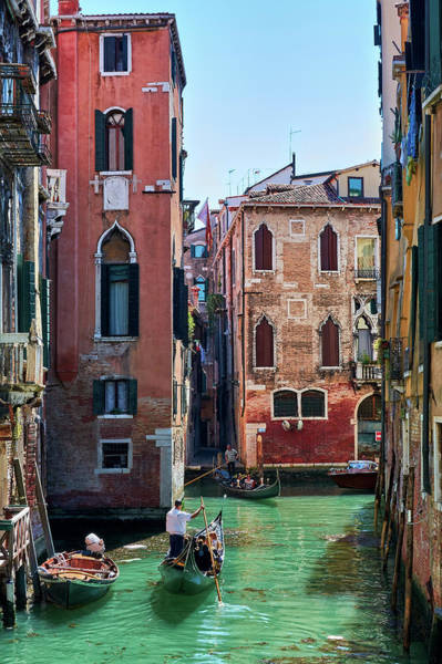 Photograph - Gondoliers And Vintage Architecture In Venice, Italy by Fine Art Photography Prints By Eduardo Accorinti