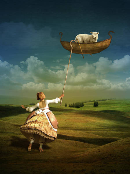 Surreal Mixed Media - Lost Sheep by Britta Glodde
