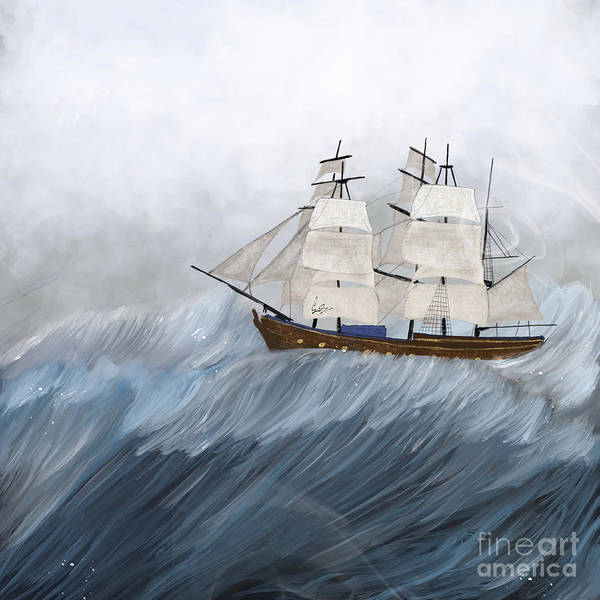 Tall Ships Wall Art - Painting - Lost Without You by Bri Buckley