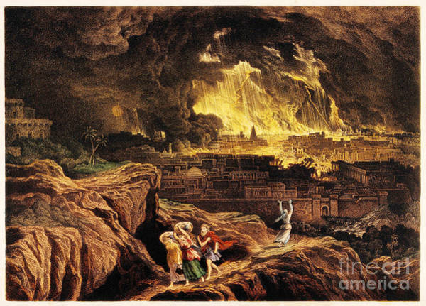 Brimstone Photograph - Lot And Family Fleeing Sodom by Wellcome Images