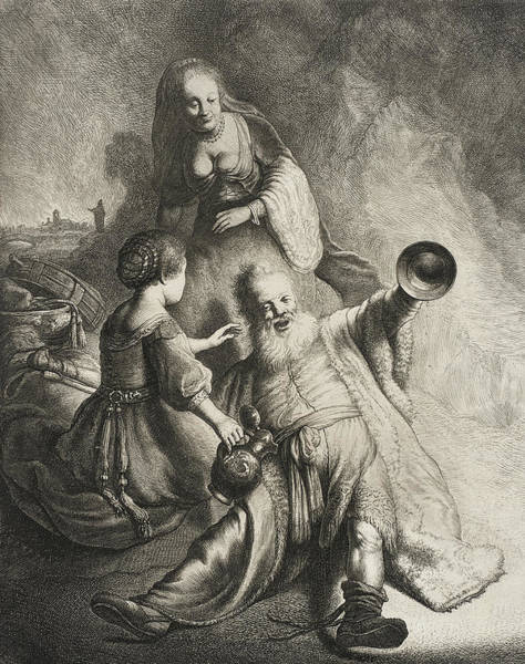 Wall Art - Drawing - Lot And His Daughters by Jan Georg van Vliet