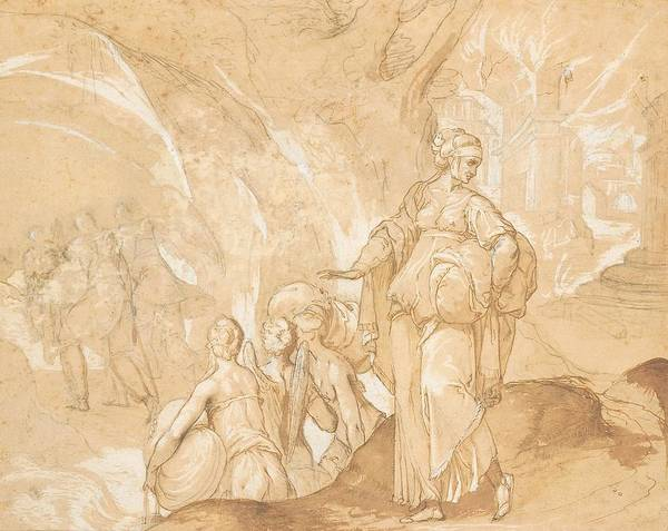 Wing Back Wall Art - Drawing - Lot's Wife Looking Back At The Destruction Of Sodom And Gomorrah  by Toussaint Dubreuil