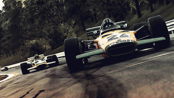 Painting - Lotus 49c At Spa  by Andrea Mazzocchetti
