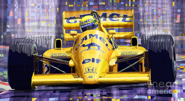 Racing Car Digital Art - Lotus 99t Spa 1987 Ayrton Senna by Yuriy Shevchuk
