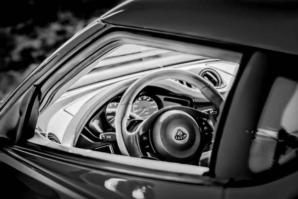 Photograph - Lotus Evora S Steering Wheel -1858bw by Jill Reger