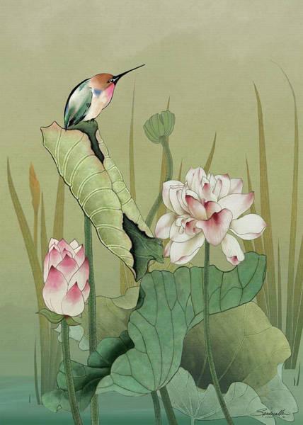 Digital Art - Lotus Flower And Hummingbird by M Spadecaller