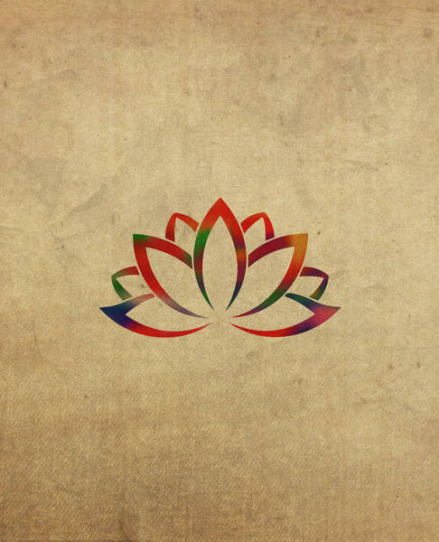 Lotus Mixed Media - Lotus Flower Buddhist Symbol In Watercolor by Design Turnpike