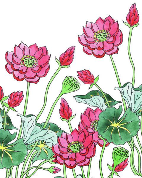 Painting - Lotus Flower Garden Watercolor Botanical  by Irina Sztukowski