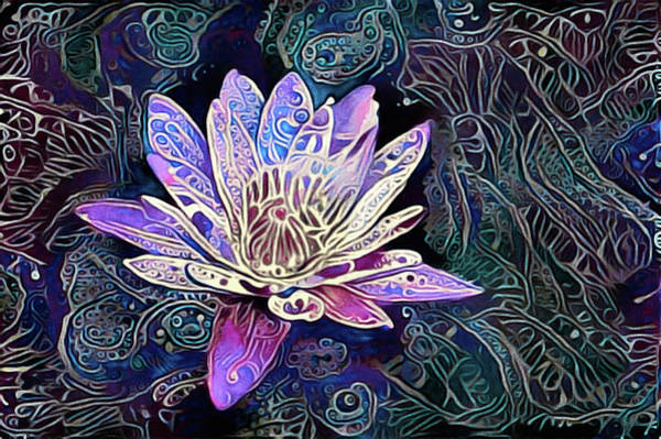 Art Print featuring the mixed media Lotus From The Mud by Susan Maxwell Schmidt