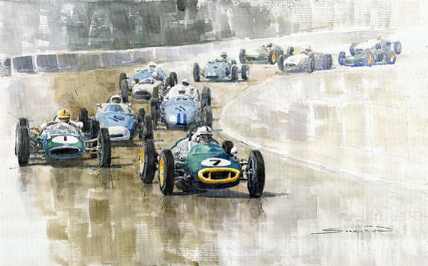 Racing Car Painting - 1961 Germany Gp  #7 Lotus Climax Stirling Moss Winner  by Yuriy Shevchuk