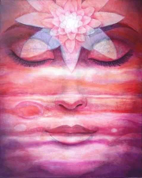 Pink Lotus Wall Art - Painting - Lotus Meditation, Jupiter Clouds by Sue Halstenberg