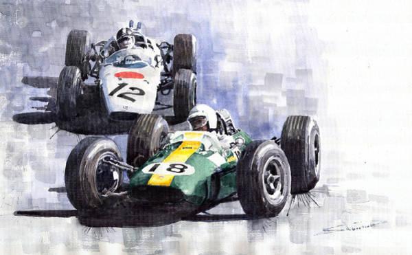 Motorsport Painting - Lotus Vs Honda Mexican Gp 1965 by Yuriy Shevchuk