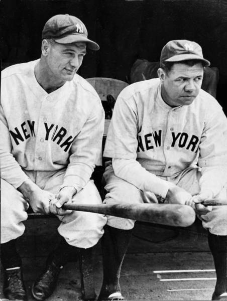 Photograph - Lou Gehrig And Babe Ruth In Black And White by Bill Cannon