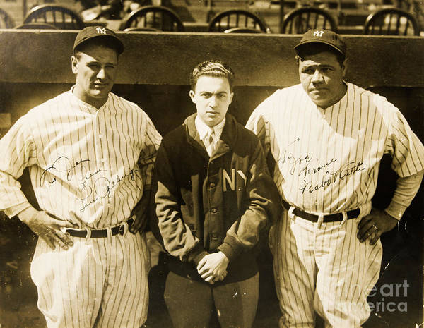 National Baseball Hall Of Fame Photograph - Lou Gehrig And Babe Ruth New York Yankees 1927 by Peter Ogden Gallery
