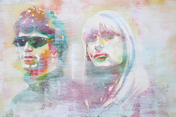Wall Art - Painting - Lou Reed And Nico - Watercolor Portrait.3 by Fabrizio Cassetta