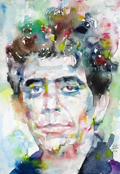 Wall Art - Painting - Lou Reed  - Watercolor Portrait.3 by Fabrizio Cassetta