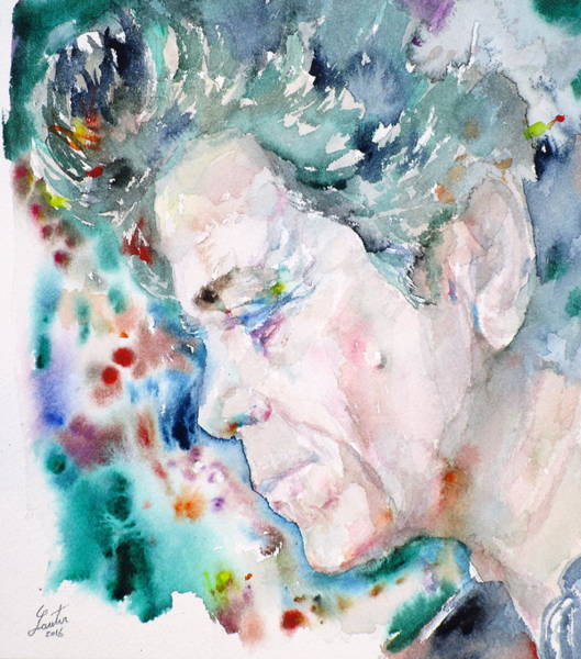 Wall Art - Painting - Lou Reed  - Watercolor Portrait.4 by Fabrizio Cassetta