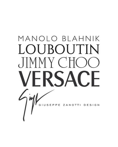 Manolo Blahnik Digital Art - Louboutin, Versace, Jimmy Choo - Black And White 02 - Lifestyle And Fashion  by TUSCAN Afternoon
