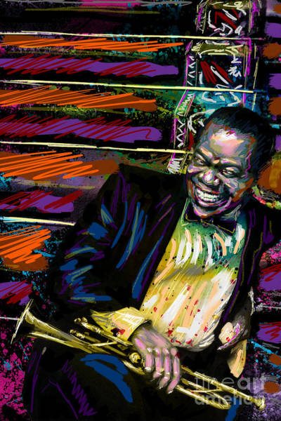 Trumpet Mixed Media - Louis Armstrong Art, Jazz Painting by Ryan Rock Artist