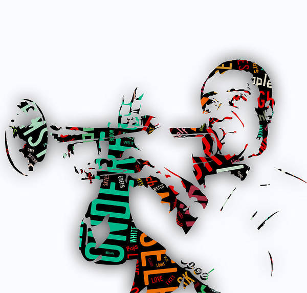 Trumpet Mixed Media - Louis Armstrong What A Wonderful World Lyrics by Marvin Blaine