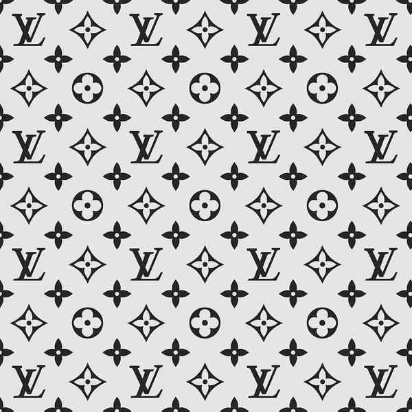 Wall Art - Digital Art - Louis Vuitton Pattern Lv 07 Grey by TUSCAN Afternoon