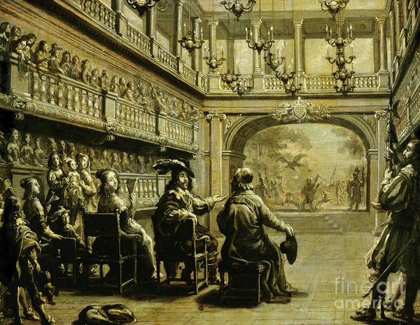Wall Art - Painting - Louis Xiii, Anne Of Austria And Cardinal Richelieu At The Production Of Mirame by Jean de Saint Igny