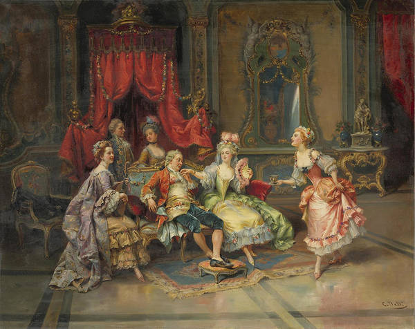 Cesare Painting - Louis Xv In The Throne Room by Cesare Auguste Detti