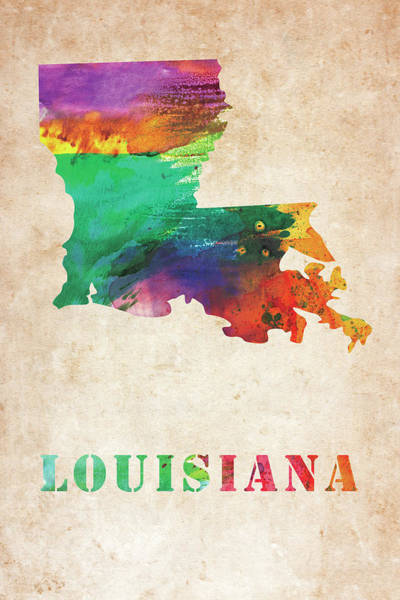 Louisiana Digital Art - Louisiana Colorful Watercolor Map by Mihaela Pater