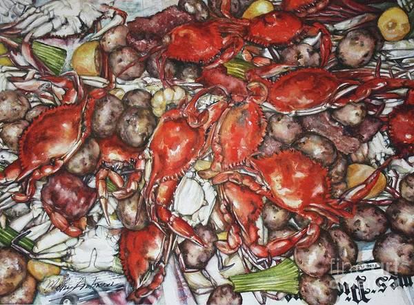 State Of Alabama Painting - Louisiana Crab Boil by Misha Ambrosia