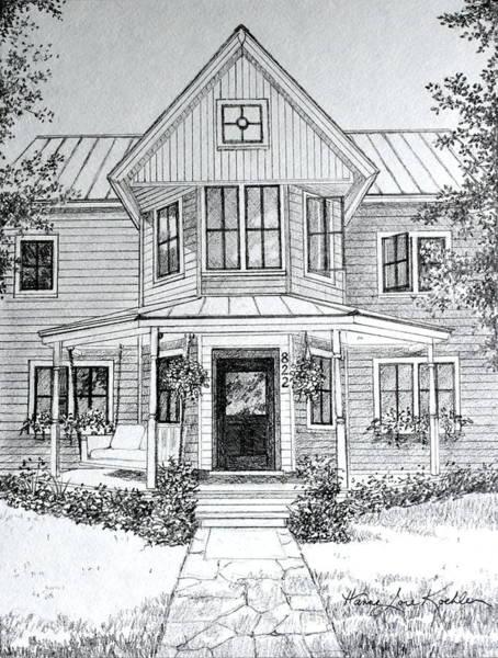 Porch Painting - Louisiana House Portrait Sketch by Hanne Lore Koehler