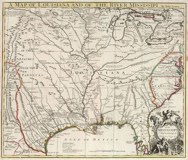 Wall Art - Painting - Map Of Louisiana And Of The River Mississippi by John Senex