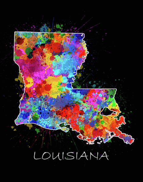 Baton Rouge Digital Art - Louisiana Map Color Splatter 2 by Bekim M
