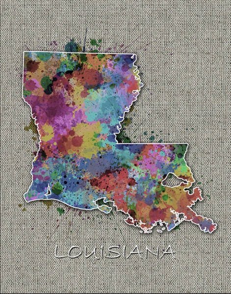 Baton Rouge Digital Art - Louisiana Map Color Splatter 5 by Bekim M
