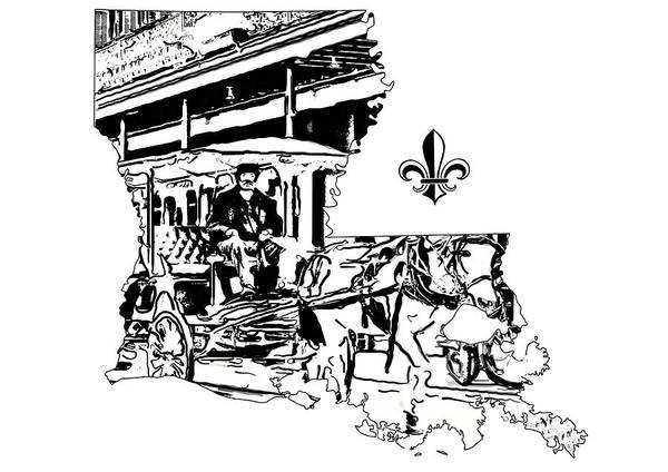 Fleur De Lis Photograph - Louisiana Map - French Quarter Carriage Ride by Steve Harrington