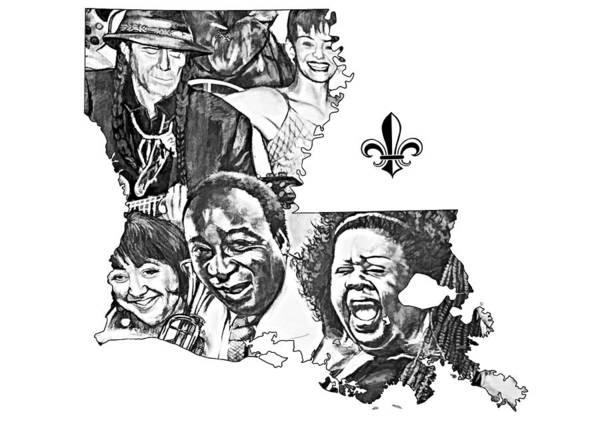 Fleur De Lis Photograph - Louisiana Map - Jazz Greats by Steve Harrington