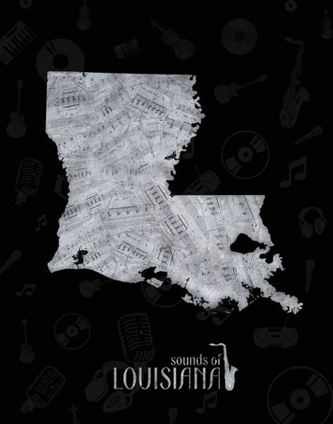 Baton Rouge Digital Art - Louisiana Map Music Notes 2 by Bekim M
