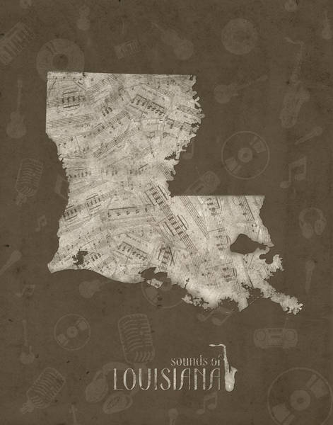 Baton Rouge Digital Art - Louisiana Map Music Notes 3 by Bekim M