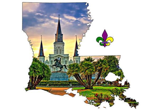 Fleur De Lis Photograph - Louisiana Map - St Louis Cathedral by Steve Harrington