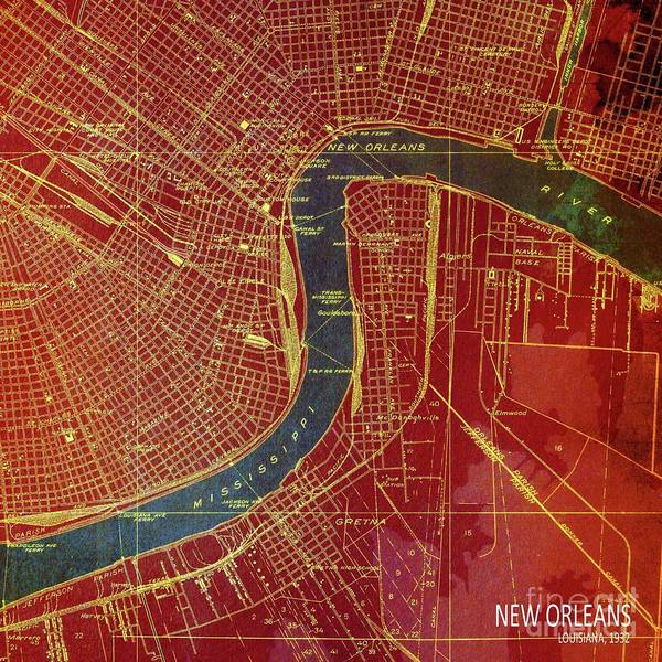 Wall Art - Digital Art - Louisiana New Orleans, Old Map Year 1932, Red And Blue by Drawspots Illustrations