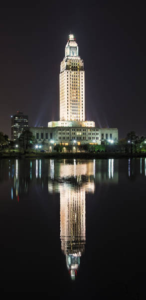Photograph - Louisiana State Capitol In Reflection by Andy Crawford