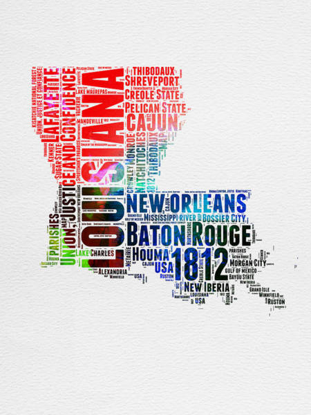 Louisiana Wall Art - Digital Art - Louisiana Watercolor Word Cloud Map  by Naxart Studio