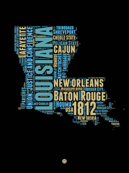 Wall Art - Digital Art - Louisiana Word Cloud Map 1 by Naxart Studio